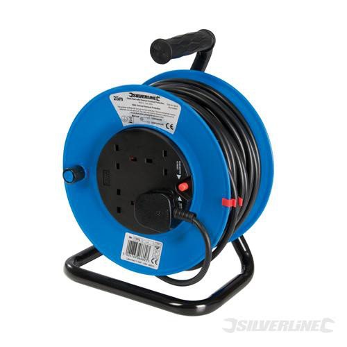 240V - Cable Reel Extension Lead - 25m - 4 Sockets