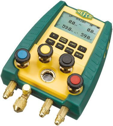 Refco Digimon 4 Way Manifold with Temp Probes, 5 Lines, Vacuum Hose, Case